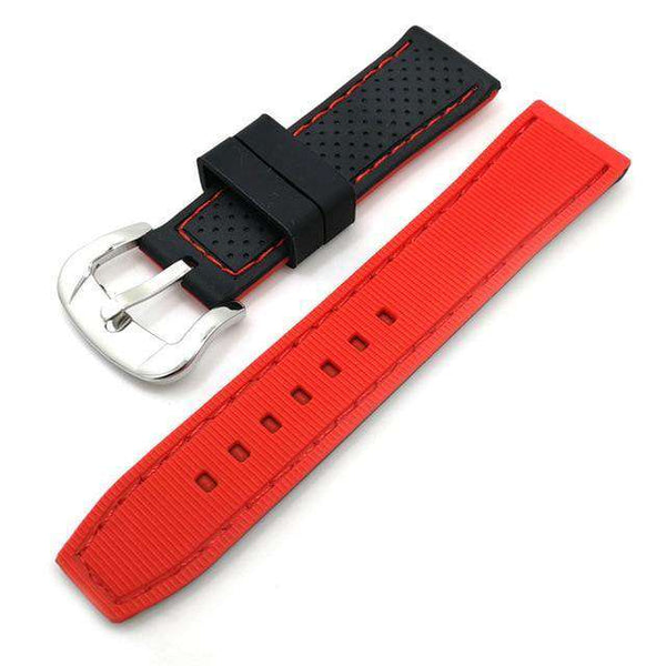 20mm 22mm 24mm Black Rubber Watch Strap With Orange / Red / Blue Threads  [3 Variations]