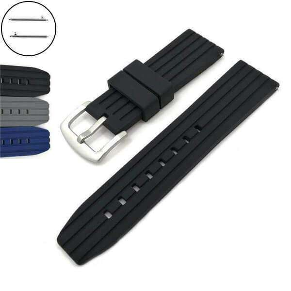 Dark Slate Gray 20mm 22mm 24mm Blue / Grey / Black Rubber Watch Strap with Quick Release Pin [W090]