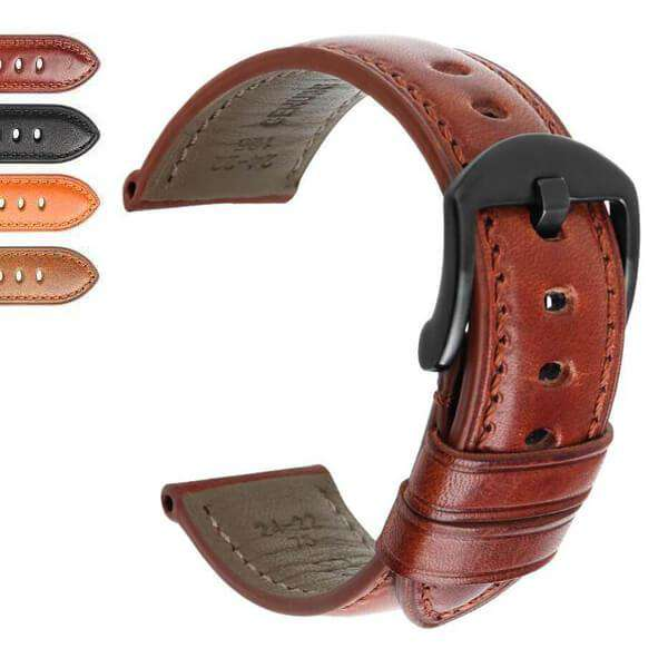 Saddle Brown 20mm 22mm 24mm Orange / Brown / Black Leather Watch Strap [W004]