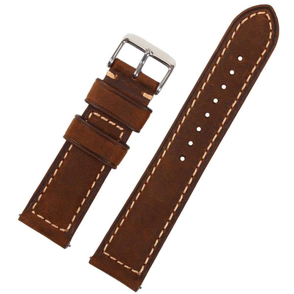 20mm 22mm Light / Dark Brown Leather Watch Strap With Quick Release Pin [2 Variations]