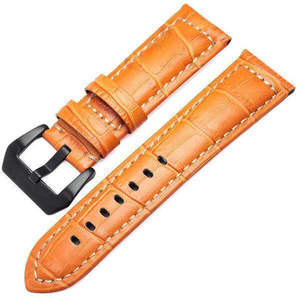 20mm 22mm Orange / Brown / Black Leather Watch Strap [3 Variations]