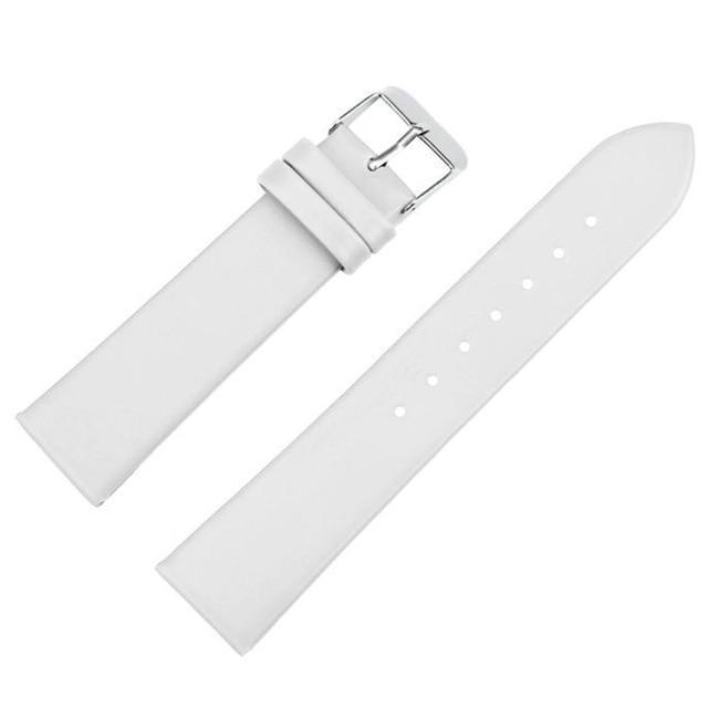 20mm White / Red / Pink / Brown / Black Leather Watch Strap [5 Variations]