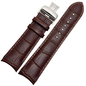 22mm 23mm 24mm Brown / Black Curved Leather Watch Strap [2 Variations]