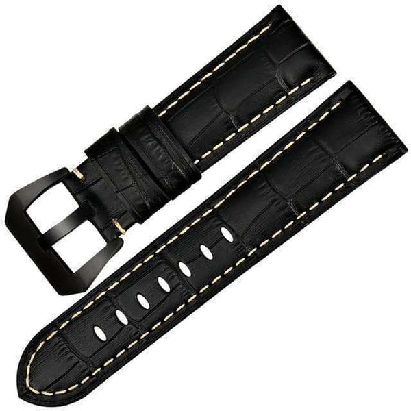 22mm 24mm 26mm Blue / Brown / Black Leather Watch Strap With Silver / Black Buckle [6 Varations]