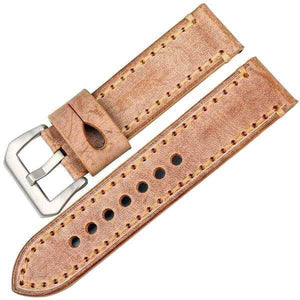 22mm 24mm Orange / Red / Blue / Green / Brown / Grey Leather Watch Strap [6 Variations]
