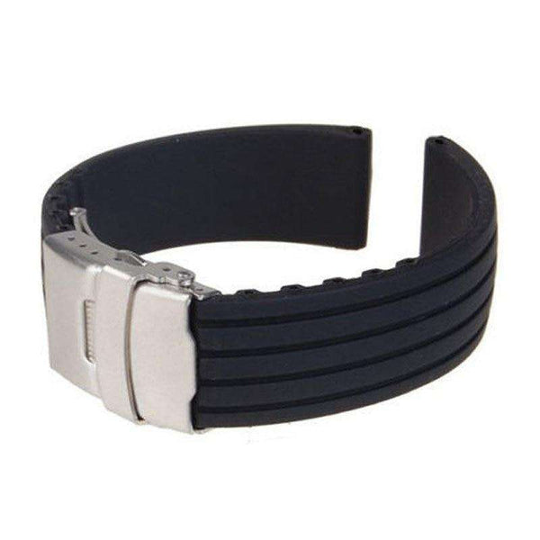 22mm Black Rubber Watch Strap