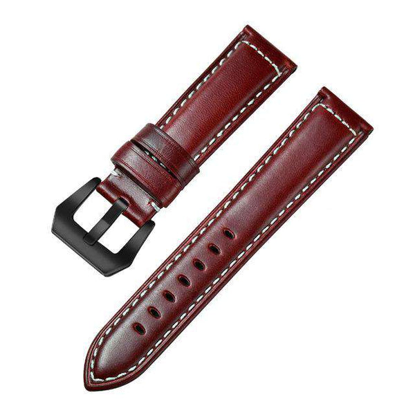22mm Yellow / Red / Blue / Brown Leather Watch Strap [4 Variations]