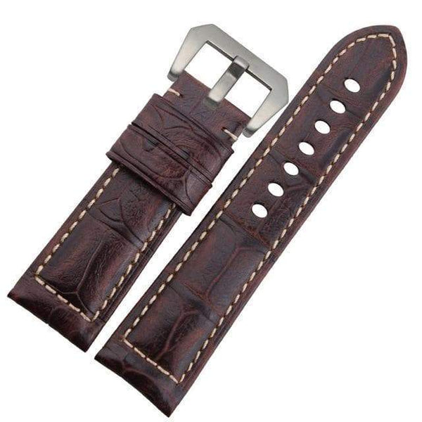 24mm Blue / Brown / Black Leather Watch Strap [3 Variations]