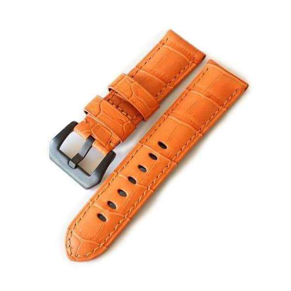 24mm Orange / Red / Pink / Blue / Purple / Green Leather Watch Strap with Black Buckle [W099]
