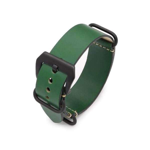 24mm Vintage Red / Green / Brown / Black Leather NATO Watch Strap With Silver / Black Buckle [5 Variations]