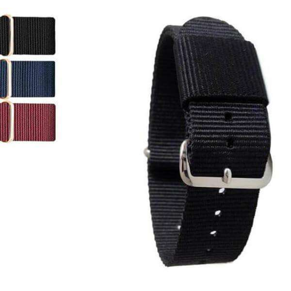 Black 18mm 20mm Red / Blue / Black Nylon Nato Watch Strap [W149]