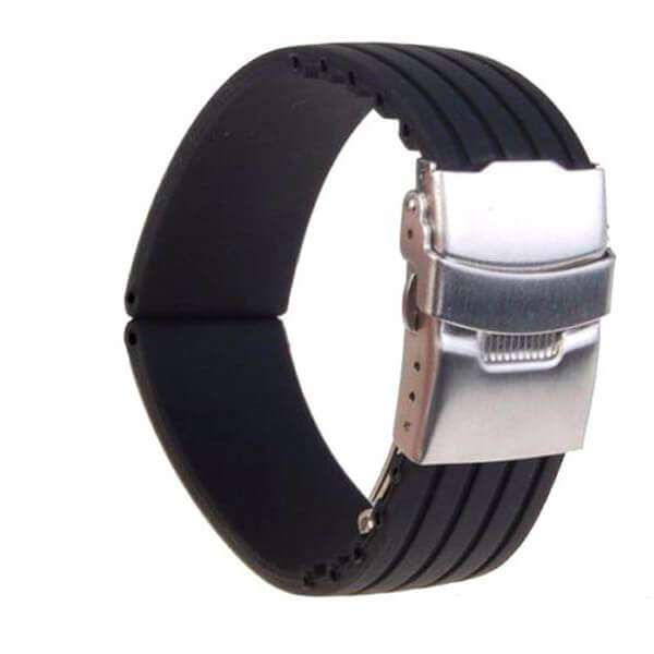 Black 22mm Black Rubber Watch Strap [W034]