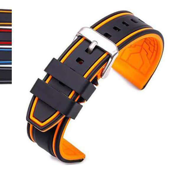 Dark Orange 20mm 22mm 24mm 26mm Orange / Red / Blue / Grey Rubber Watch Strap [W120]