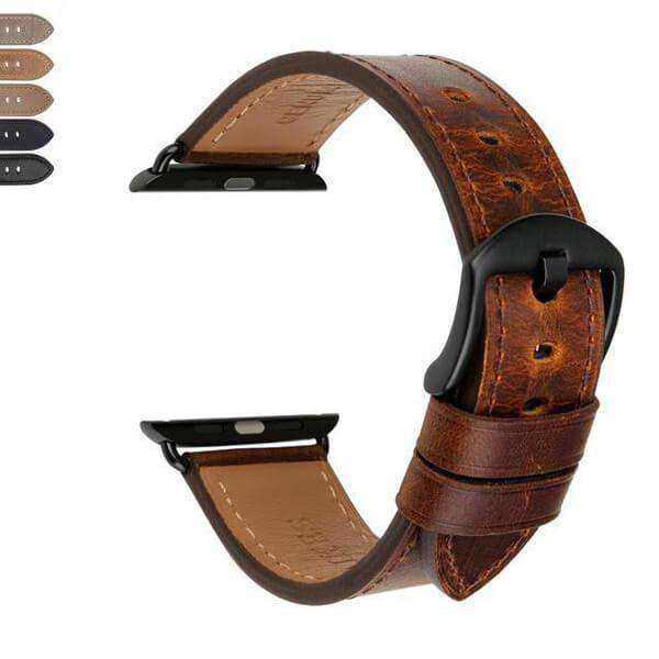 Saddle Brown Brown / Black Leather Watch Bands for Apple Watch [W026]