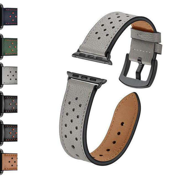 Sienna Green / Brown / Grey/ Black Leather Watch Bands for Apple Watch [W146]