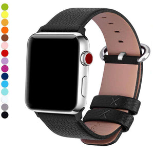 Black Leather Watch Bands for Apple Watch [W145]