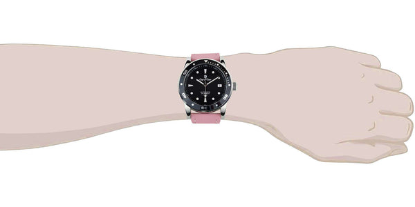 Black 22mm Lavender Pink Leather Watch Strap