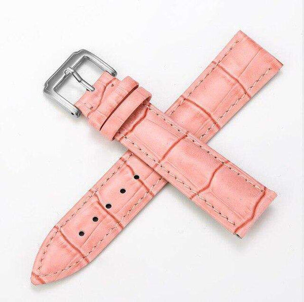Light Pink 12mm 13mm 14mm 15mm 16mm White / Red / Pink / Blue Leather Watch Strap [W159]