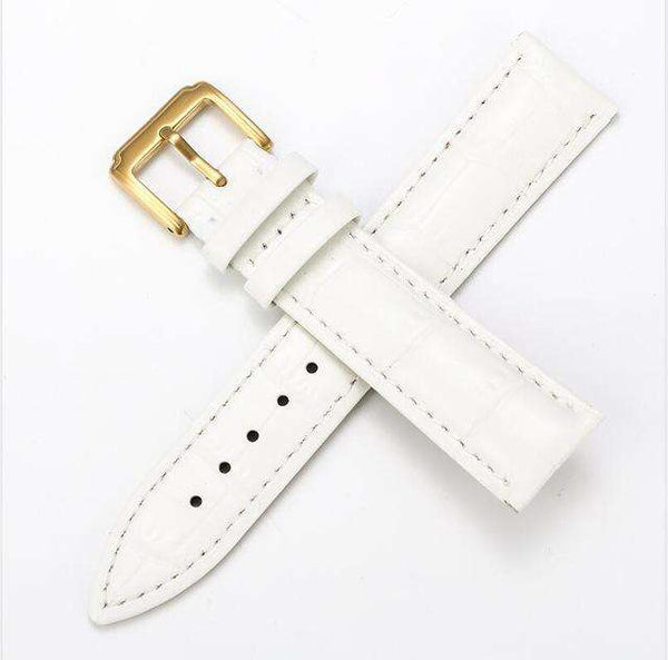 Beige 12mm 13mm 14mm 15mm 16mm White / Red / Pink / Blue Leather Watch Strap [W159]
