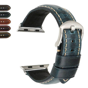 Red / Blue / Green / Brown Leather Watch Bands with Silver / Black for Apple Watch [W027]