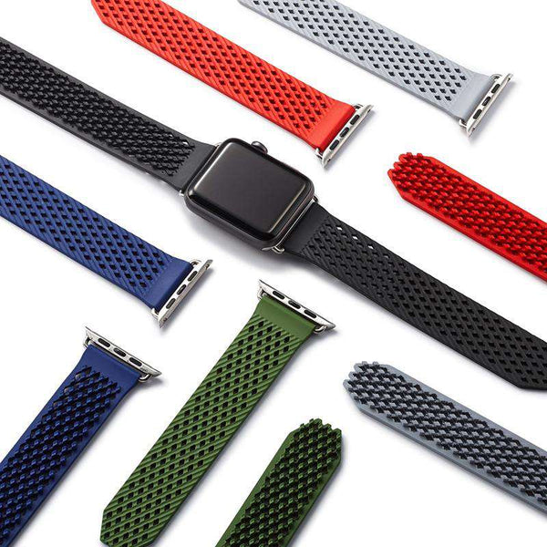 Red / Blue / Green / Grey / Black Rubber Watch Bands For Apple Watch [10 Variations]