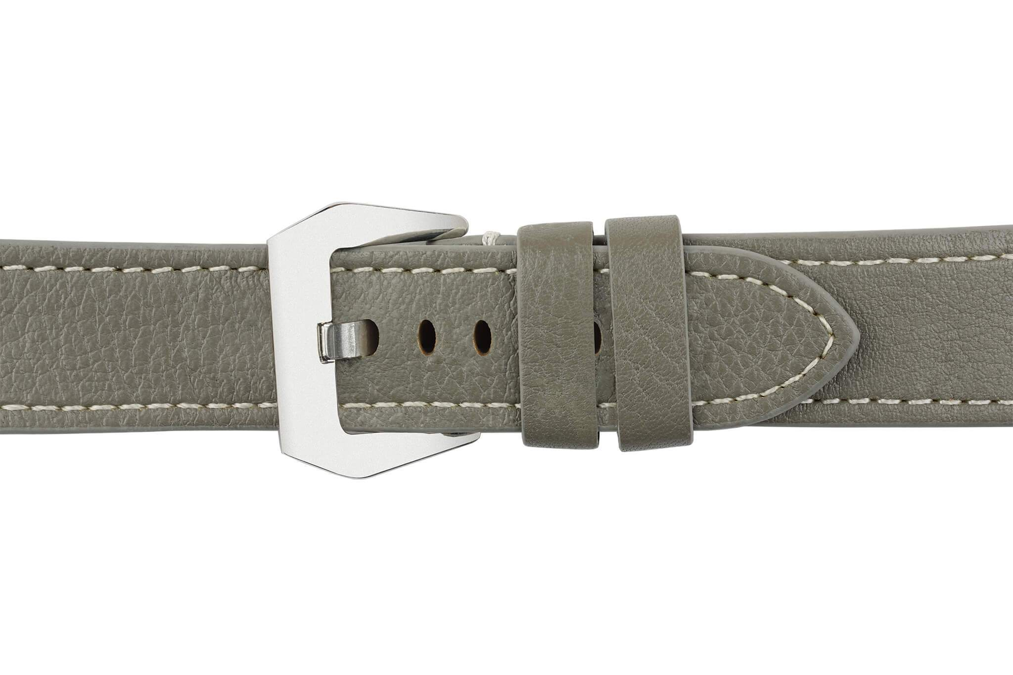 Watch Straps - 22mm Battleship Grey Leather Watch Strap