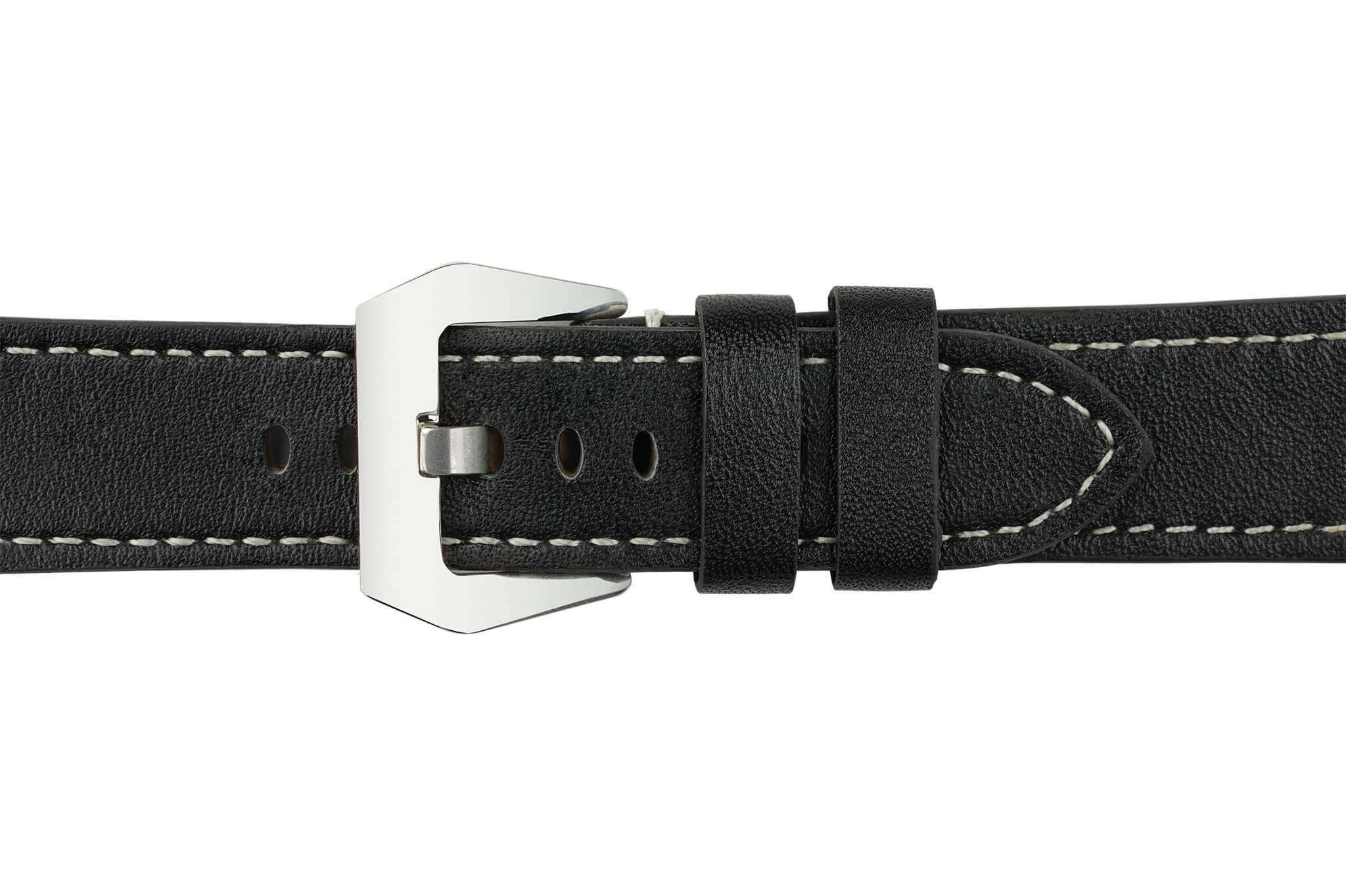 Watch Straps - 22mm Black Leather Watch Strap