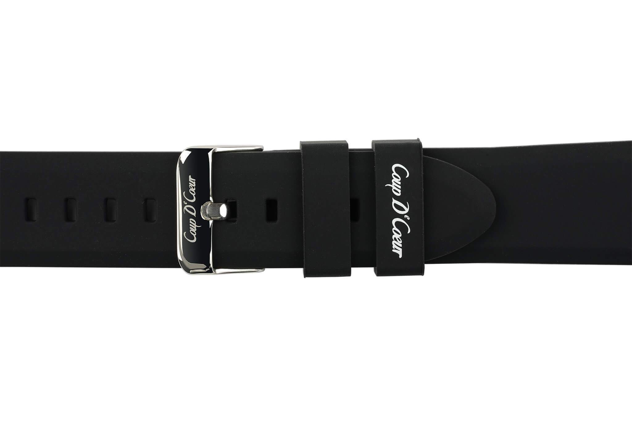 Watch Straps - 22mm Black Rubber Watch Strap