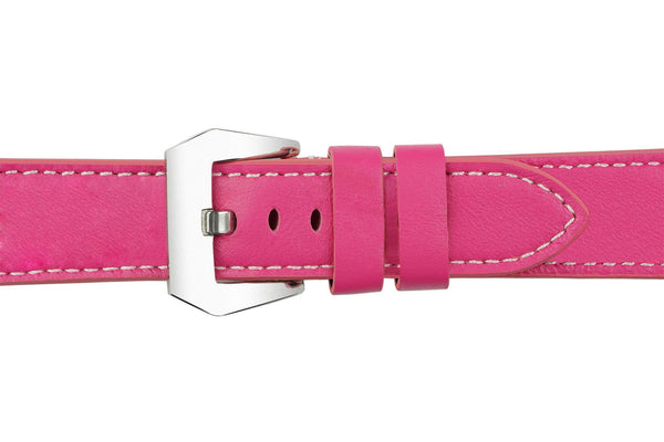 Watch Straps - 22mm Cerise Pink Leather Watch Strap