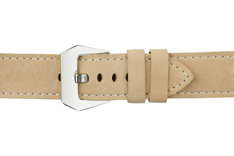 Watch Straps - 22mm Khaki Leather Watch Strap (Soft Leather)