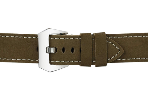 Watch Straps - 22mm Olive Drab Leather Watch Strap (Soft Leather)