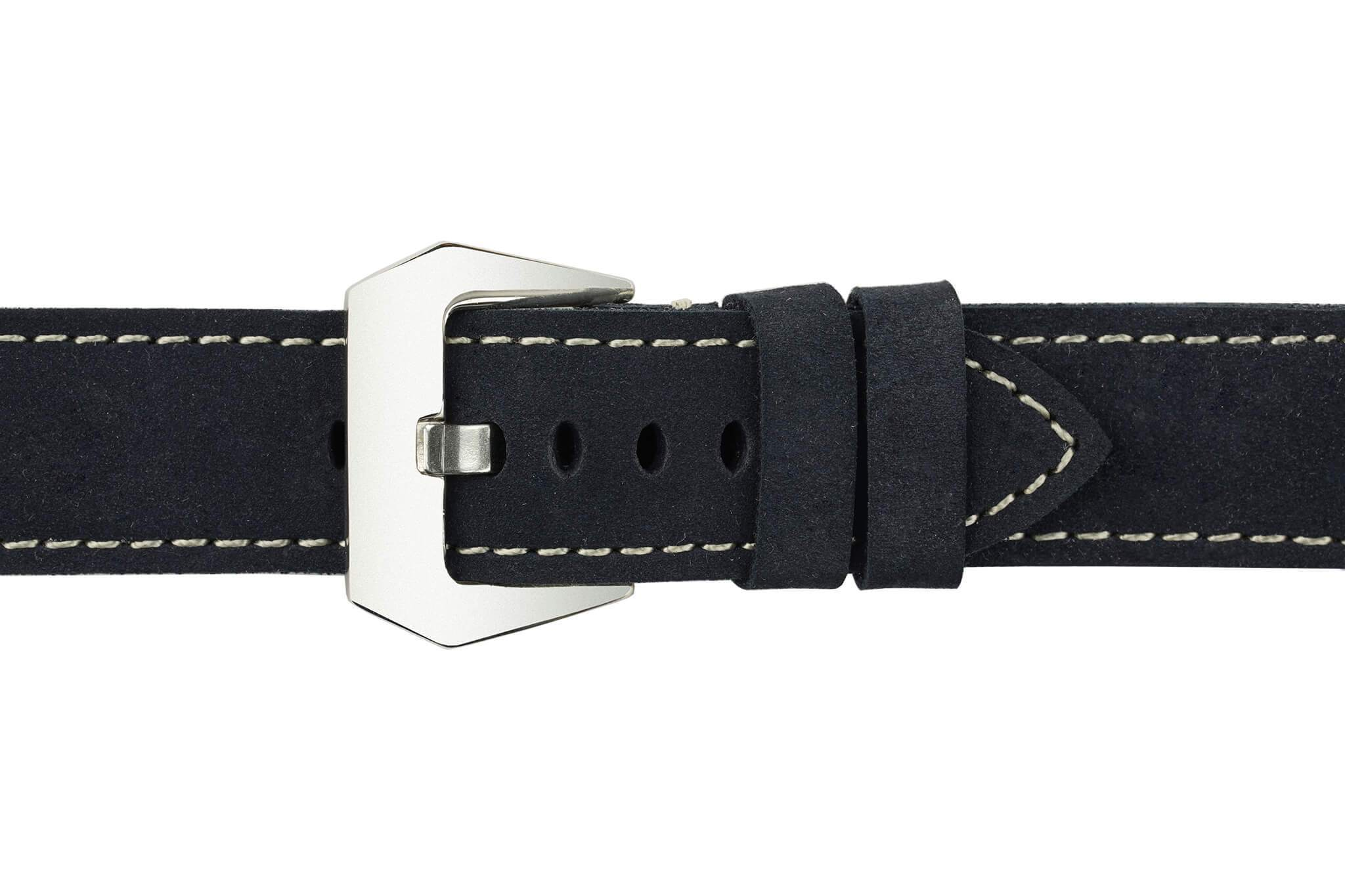 Watch Straps - 22mm Prussian Blue Leather Watch Strap (Soft Leather)