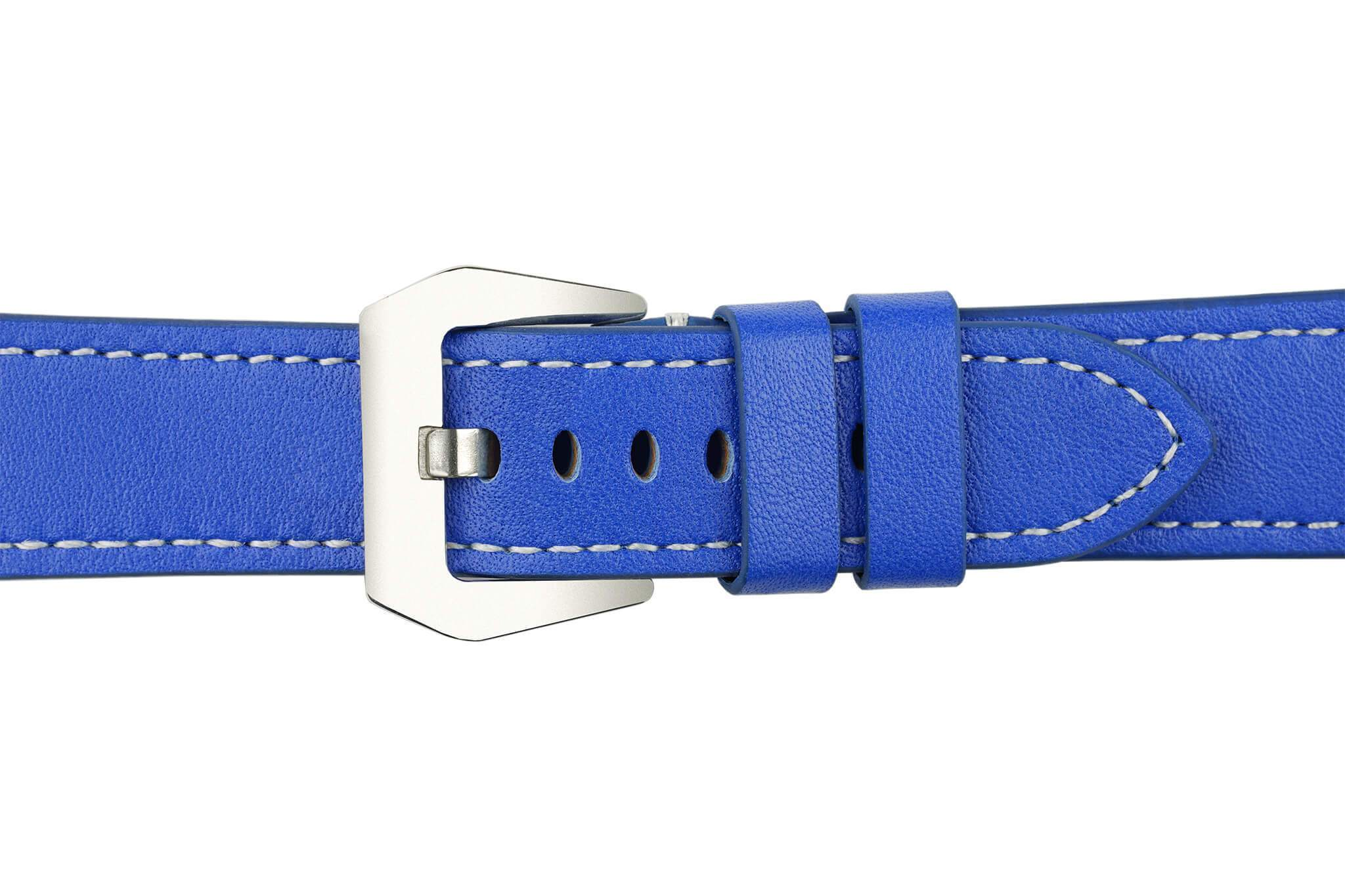 Watch Straps - 22mm Royal Blue Leather Watch Strap