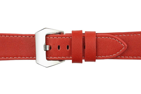 Watch Straps - 22mm Watermelon Red Leather Watch Strap