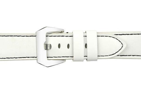 Watch Straps - 22mm White Leather Watch Strap