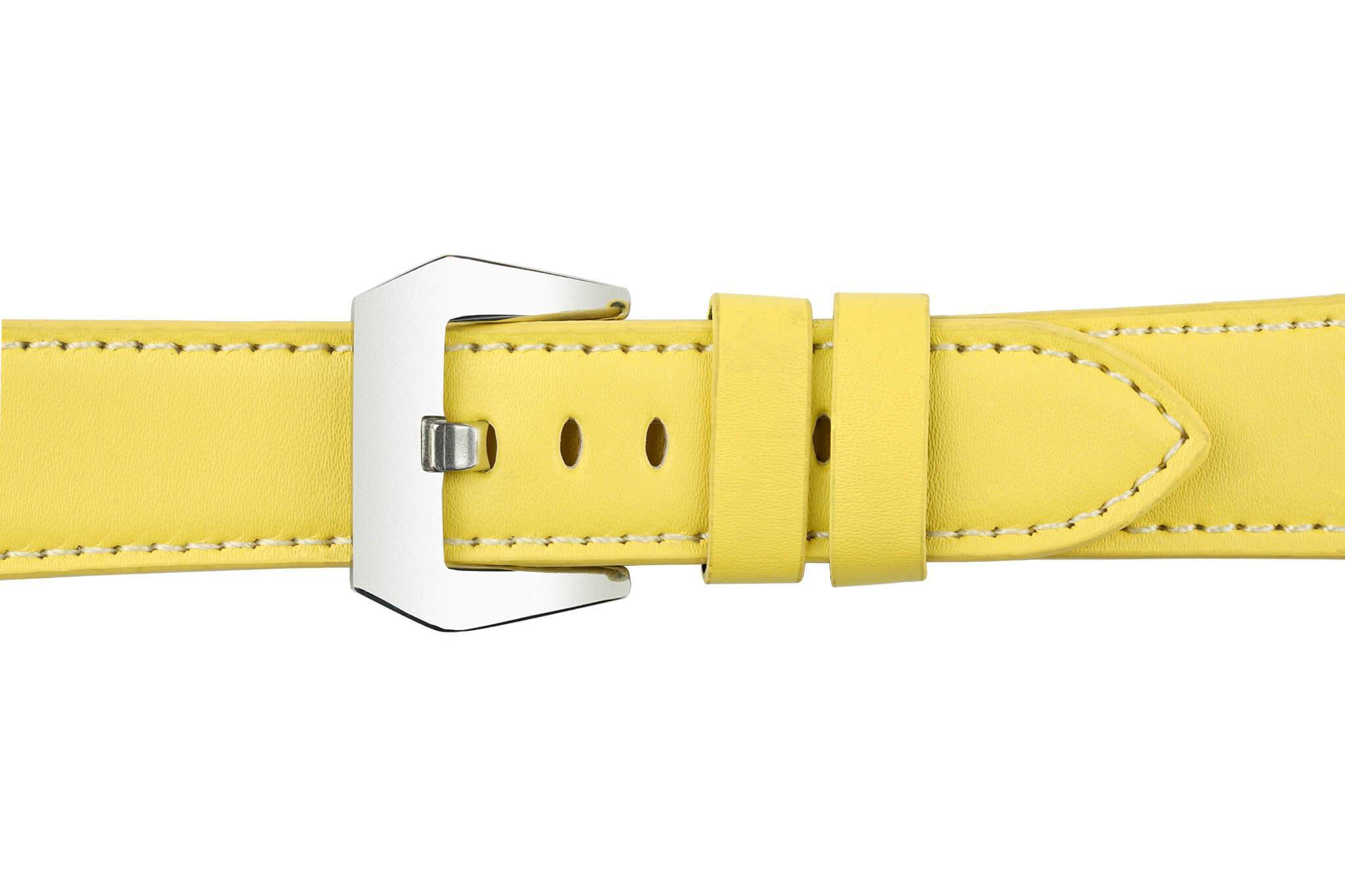 Watch Straps - 22mm Yellow Leather Watch Strap