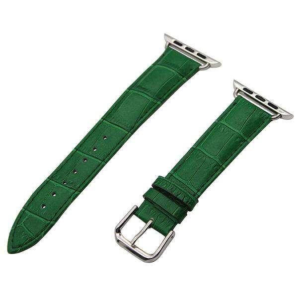 White / Red / Pink / Blue / Purple / Green / Brown / Grey / Black Leather Watch Band For Apple Watch [11 Variations]