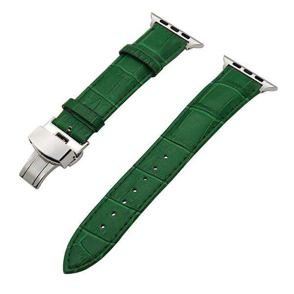 White / Red / Pink / Blue / Purple / Green / Brown / Grey / Black Leather Watch Band With Deployant Buckle For Apple Watch [11 Variations]