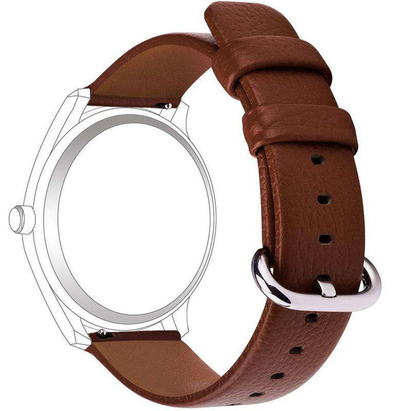 Saddle Brown 18mm 20mm 22mm 24mm White / Yellow / Red / Pink / Blue / Green / Brown / Grey / Black Leather Watch Strap with Quick Release Pin [W095]
