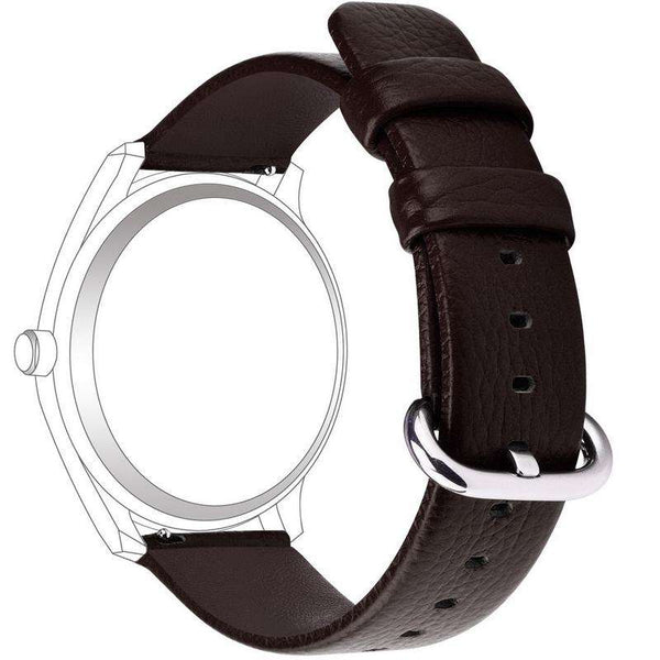 Black 18mm 20mm 22mm 24mm White / Yellow / Red / Pink / Blue / Green / Brown / Grey / Black Leather Watch Strap with Quick Release Pin [W095]