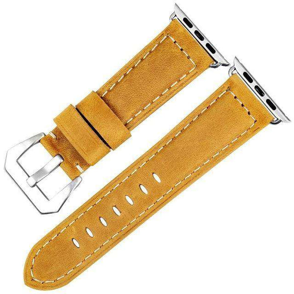 Yellow / Brown / Black Leather Watch Bands With Silver / Black For Apple Watch [8 Variations]