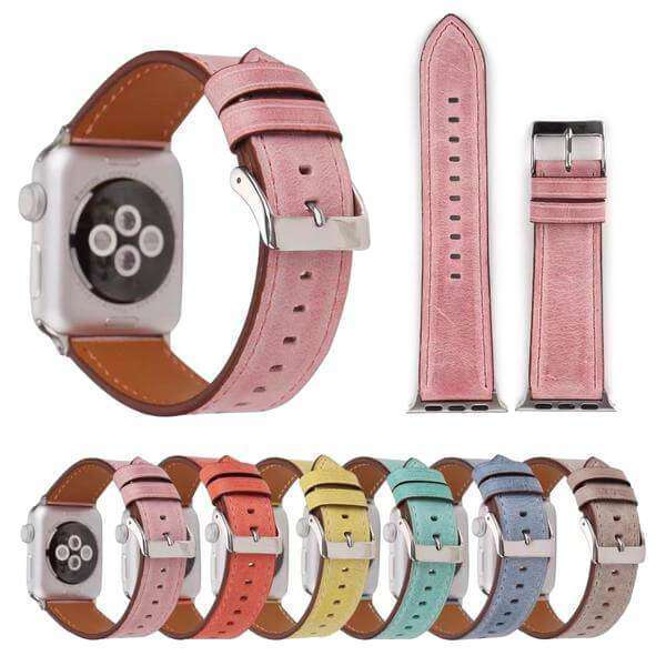 Yellow / Orange / Pink / Blue / Green / Brown Leather Watch Bands For Apple Watch [6 Variations]