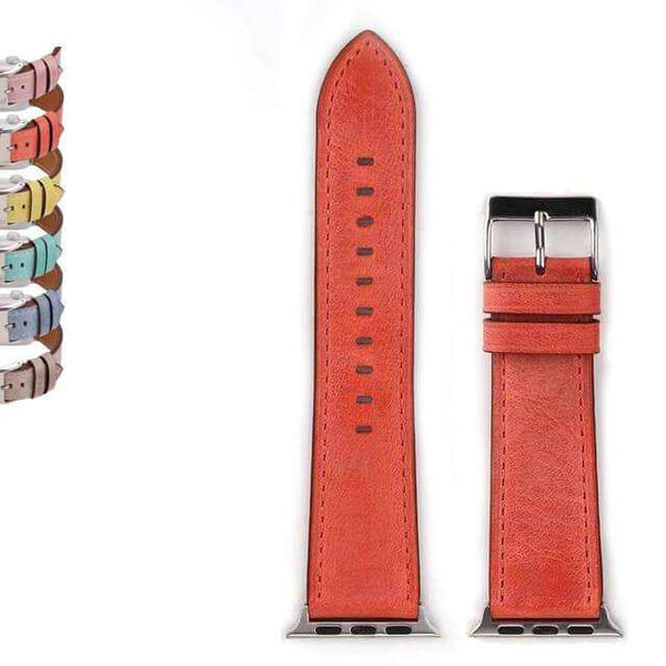 Chocolate Yellow / Orange / Pink / Blue / Green / Brown Leather Watch Bands for Apple Watch [W031]