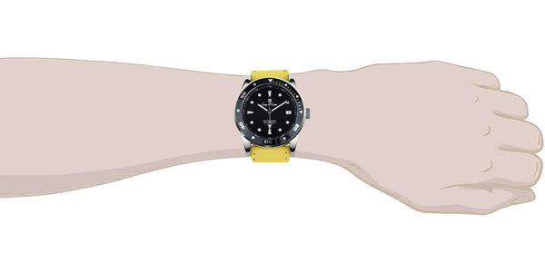 Black 22mm Yellow Leather Watch Strap