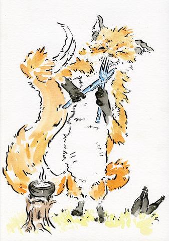 Hungry fox signed print
