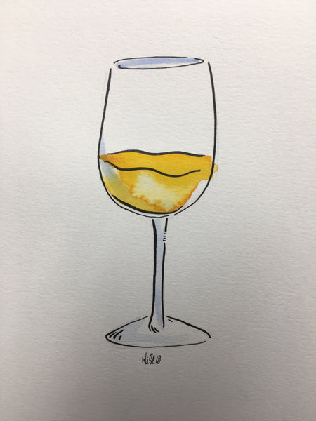 Original watercolor and ink wine glass illustration 8.5 x 11
