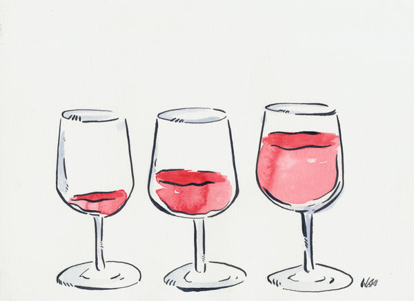 Three glasses print