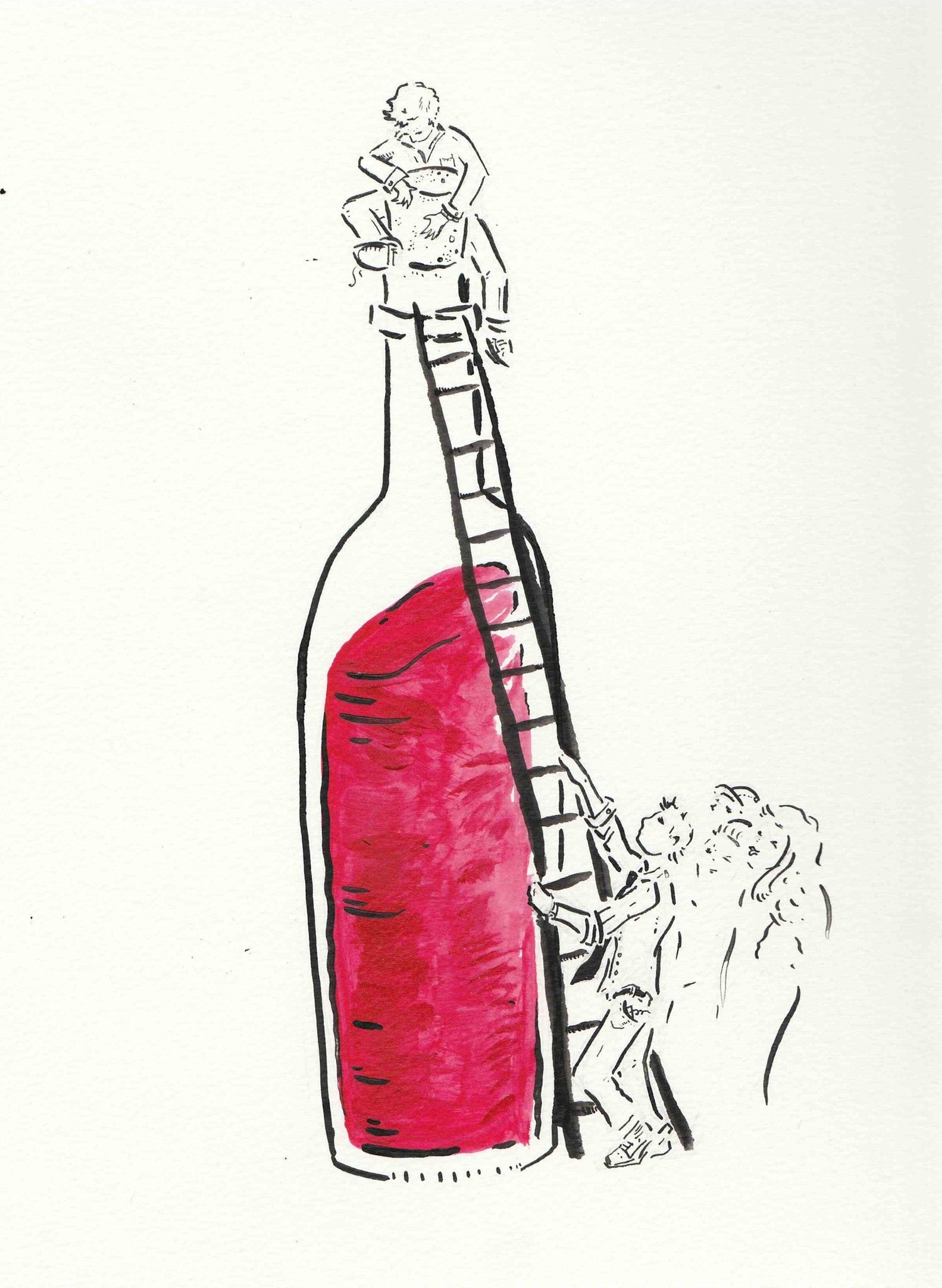 Signed Somm, into the bottle print set and 4 handmade and signed wine charms