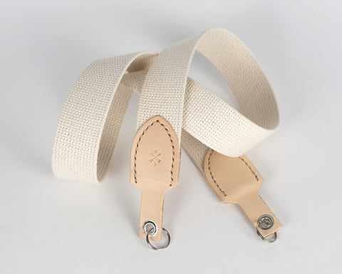 leather and cotton camera strap - natural