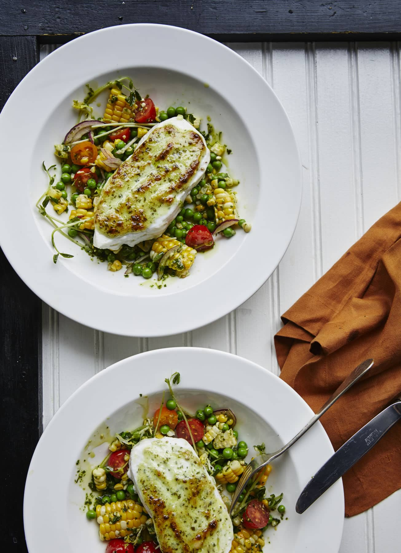 Broiled Halibut with Basil Pesto, Sweet Corn, and Pea Salad